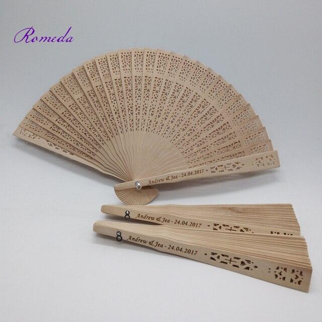 Hot Selling Wedding Custom Engraving Sandalwood Hand Fan