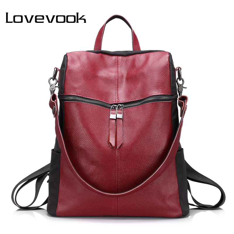 Lovevook Brand Women Backpack Genuine Leather School Backpacks For Teenage Girls Oxford Shoulder Bag Large Capacity Travel Bags