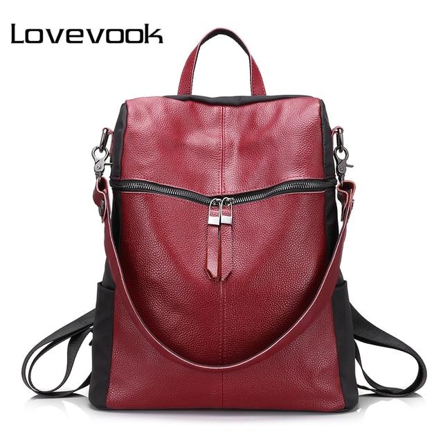c8f610dcd99 LOVEVOOK brand women backpack genuine leather school backpacks for teenage  girls oxford shoulder bag large capacity