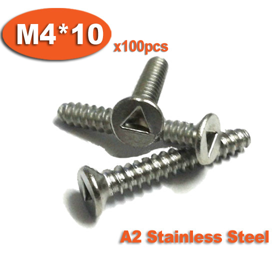 100 pièces DIN7991 M4 x 10 A2 acier inoxydable Triangle fente tête fraisée vis de sécurité inviolable vis