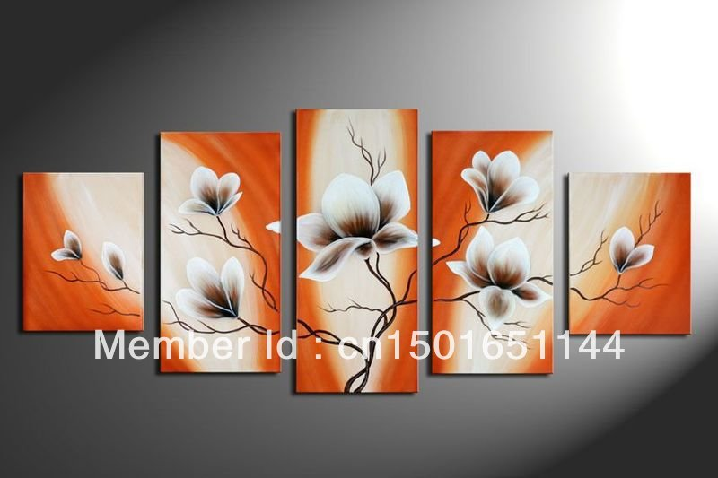 5 piece canvas art sets orange black white flower modern abstract wall pictures for living room. Black Bedroom Furniture Sets. Home Design Ideas