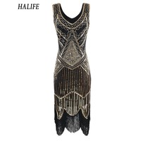 HALIFE Vintage Plus Size Dresses For Women 1920s Style Gatsby Dress Sleeveless Fringe Trim Flapper Tassel