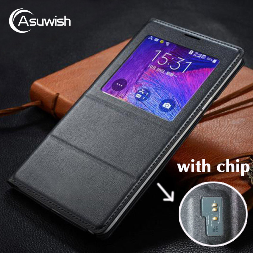 Asuwish Flip Caso Capa De Couro Para Samsung Galaxy Note 4 Note4 N910 N910F N910H Vista Tampa Da Caixa de Telefone Inteligente Com original Chip
