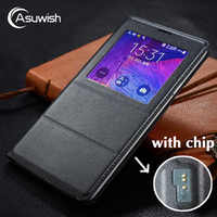 Asuwish Flip-Cover Ledertasche Für Samsung Galaxy Note 4 Note4 N910 N910F N910H Telefon Fall Abdeckung Smart View Mit original Chip
