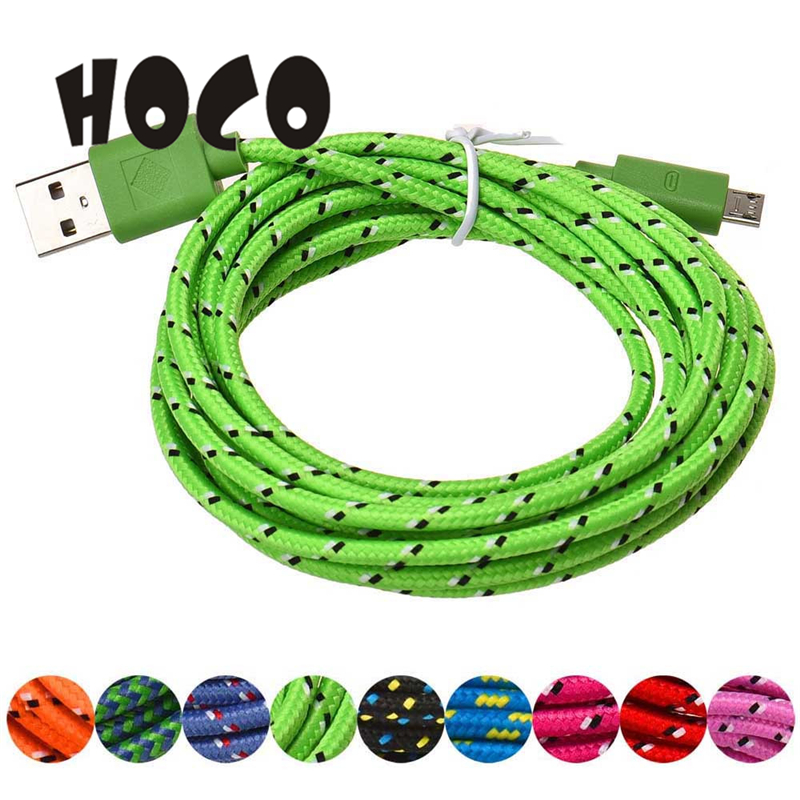 3M/10FT Micro USB Charger Sync Data Cable Cord High Quality Portable Beautiful Gift Coloful for Cell Phone_KXL0404