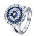 Plateado Evil eye Anillos cara redonda con azul blanco mezclado cz nueva joyería de Lujo 7-9 circón cúbico Anillo de las mujeres