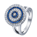 silver plated Evil eye Rings  round face with blue white mixed cz new jewelry Luxury 7-9 cubic zircon women Ring