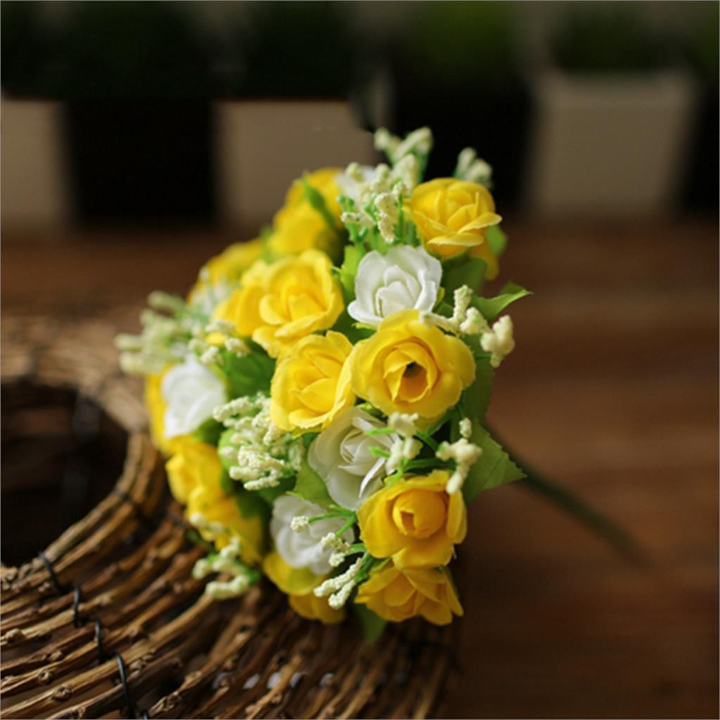 21 Heads Artificial Flowers Mini Rose for Decoration Home Room Wedding Decor