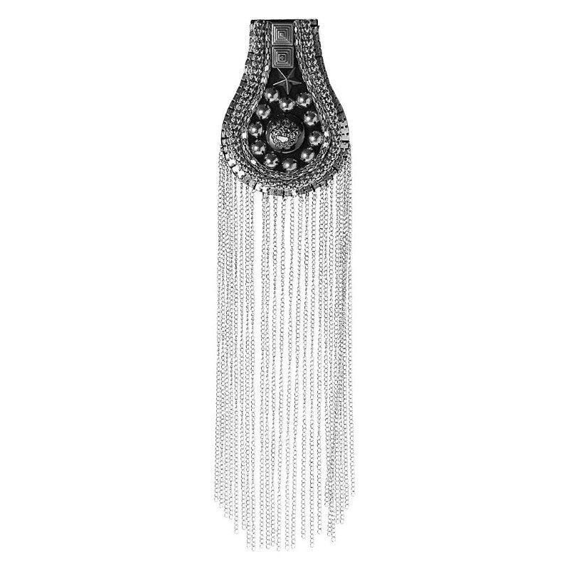 Suit Shoulder-Board Vintage Jewelery Hand-Beading Metal Tassel Punk Unisex Long 1pcs