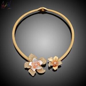 Image 2 - Yulaili fiori di lusso Boom donne fidanzamento zirconi cubici collana girocollo orecchini Dubai set di gioielli in oro dipendenza da gioielli