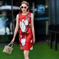 SOPAKA High Quality Swan Printing Crystal Button 2017 Summer Newest Red Mini Runway Designer Women Dress