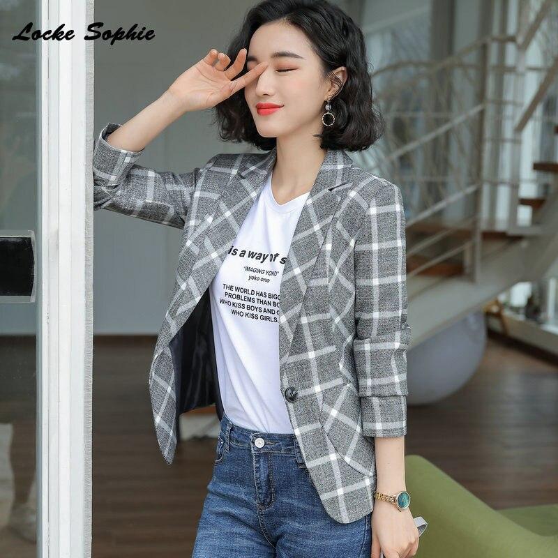 1pcs Women's Plus Size Slim Fit Blazers Coats 2019 Autumn Cotton Blend Plaid Small Suits Jackets Ladies Skinny Blazers Suits