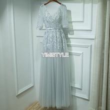 Elegant Light Grey Applique Lace Tulle Half Sleeve Evening Party Dress White Evening Party Dress Formal Gown vestido de festa