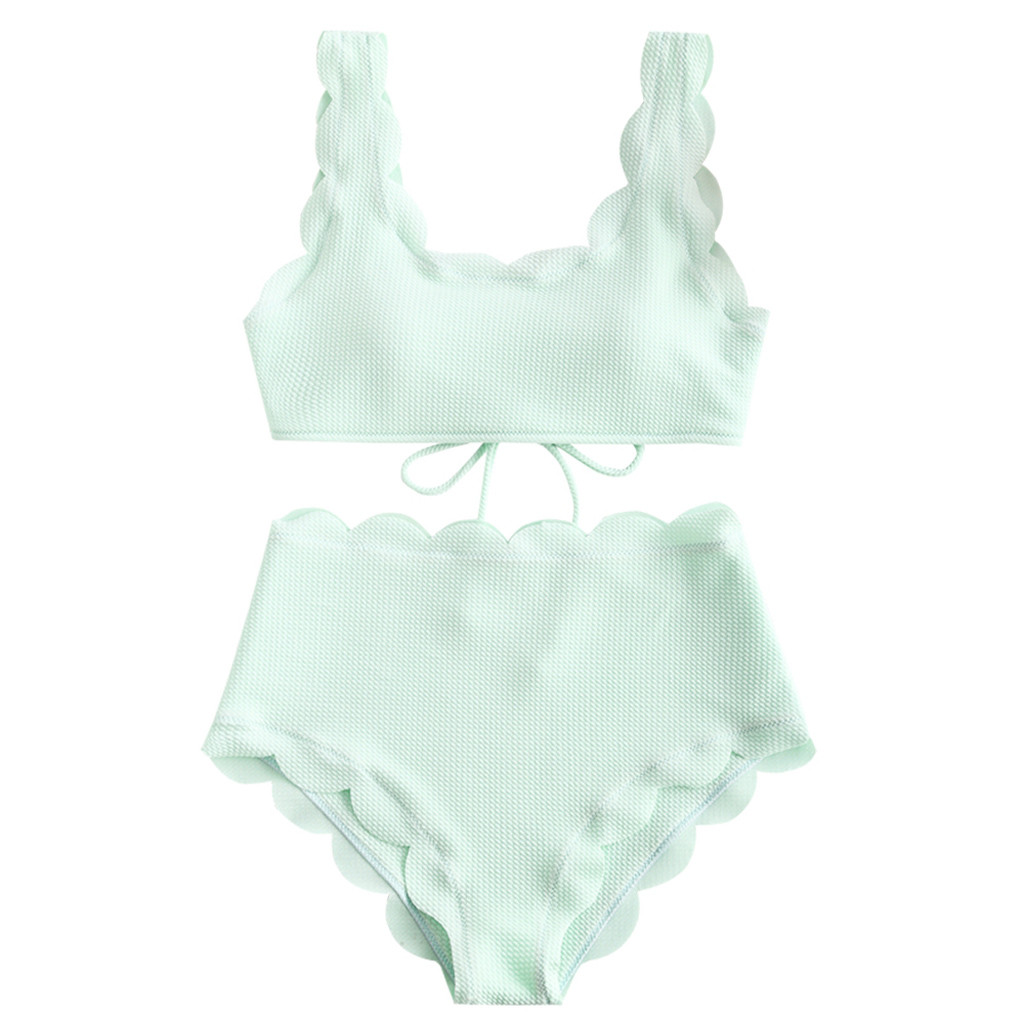 Women High Waisted Bikini Set Solid Two Pieces Beach Bathing Suits Swimwear Lace Up Biquinis Bathing Suits N30