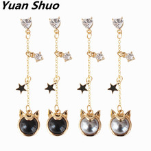 Cute cat love inlay semi – precious stones Five Star long earrings Japanese girl series earrings wholesale
