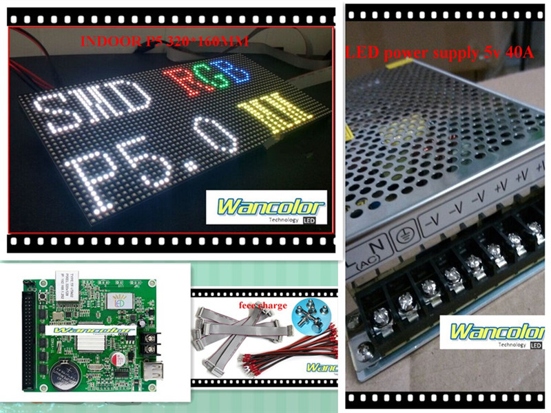 Free Shipping DIY LED Display 1 Sqaure Meter 18 Pcs P5 Indoor Full Color Led Module (320*160mm)+controller+3 Pc Power Supply