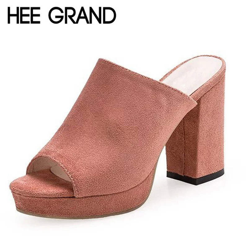 HEE GRAND Faux Suede Mules Summer Sexy High Heels Platform Shoes Woman Slippers Slip On Slides Pumps Casual Women Shoes XWZ3250 hee grand sweet faux fur slippers fashion flats shoes woman slip on bowtie winter warm women shoes 4 colors size 36 41 xwt966