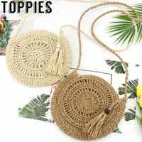 2019 Women Hollow Out Straw Bags Paper Rope Crossbody Bag Bohemian Beach Women Circle Bag