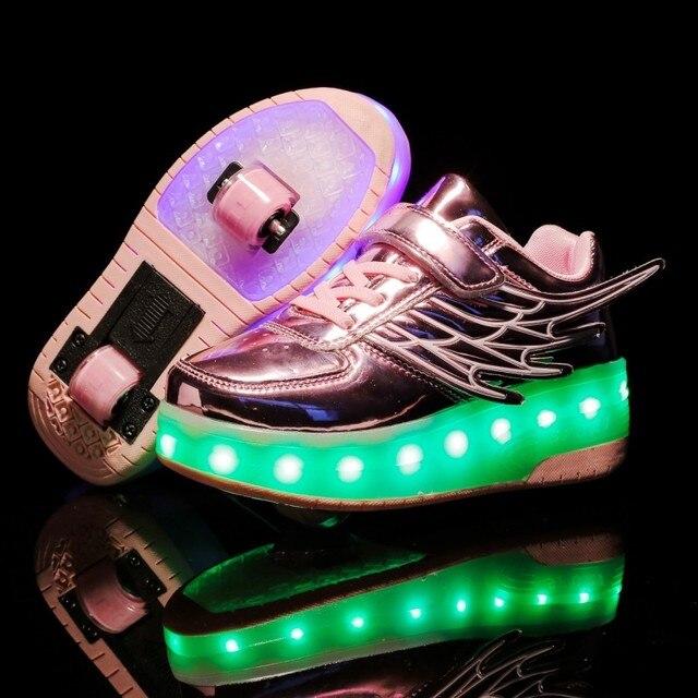 Детские кроссовки с колесиками, модная обувь для роликовых коньков, со светодиодной подсветкой, зарядка через USB, розовые, золотые