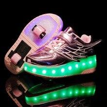 Yeni pembe altın USB şarj moda kız erkek LED ışık paten ayakkabı çocuk Sneakers ile tekerlekler iki tekerlekler