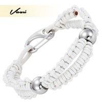Vivari 2017 À La Mode Femmes Blanc Véritable Bracelet En Cuir En Acier Inoxydable Hommes de mode bracelet Accessoires