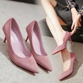 2017 Spring Velvet High-Heeled Shoes Women Thin Heels Wedding Party Pointed Toe Shoes Professional Work Shoes