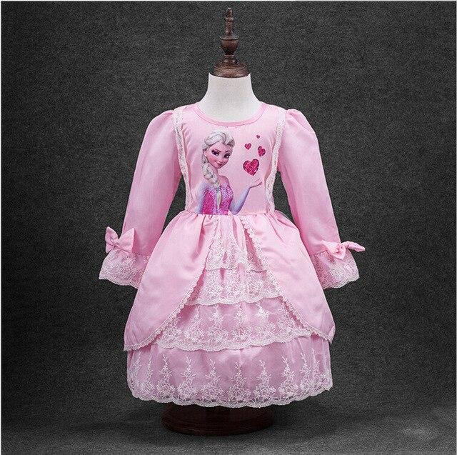 Anna Elsa Vestido Acodado Princesa Vestido de Fiesta de Algodón ...