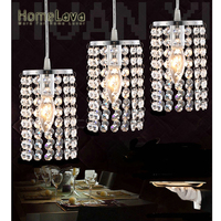 Mini Modern Simple Chrome Plating Crystal Pendant Light Living Room Bedroom Study Room Kitchen Dining Room