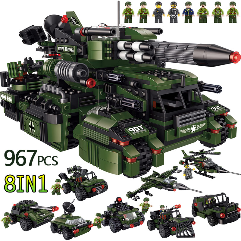 967PCS Army God of War Building Blocks Compatible Legoingly Military Vehicles Attack Helicopter Radar Car Bricks Toys For Boys