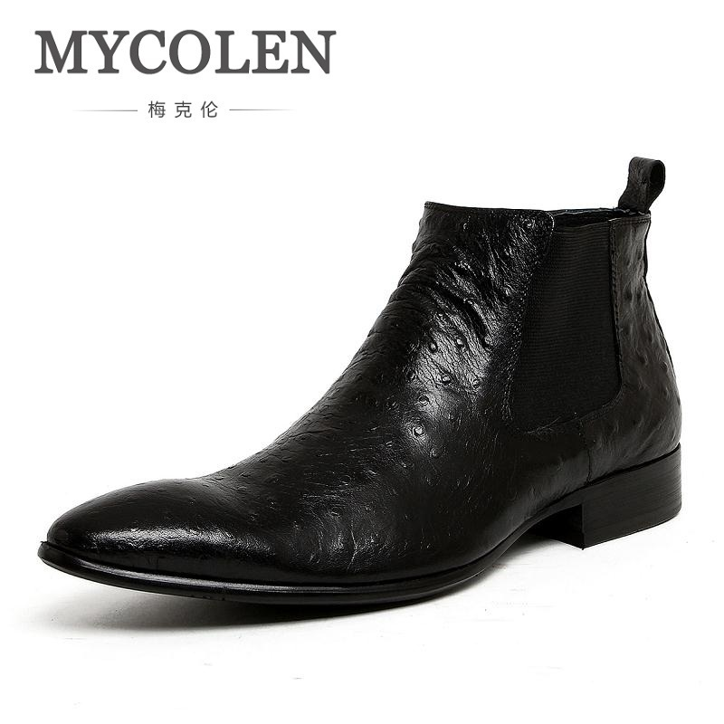 MYCOLEN Business Men Boots Fashion Pointed Toe Ankle Boots Man Chelsea Boots Winter High Top Leather Shoes Slip on Flats mycolen 2017 fashion winter men boots british style working safety boots casual winter men shoes male black leather ankle boots