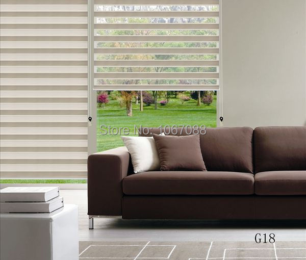 2015 New Translucent 100 Polyester Fold Roller Zebra Blinds Window Curtains For Living Room 31 In W 48 L 5 Colors