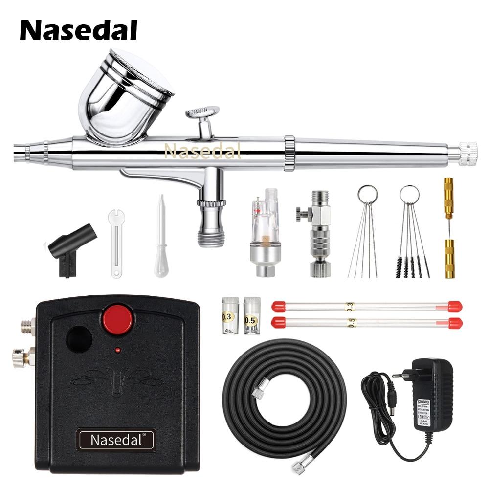Nasedal Airbrush Compressor Dual-Action Spray Gun Makeup Nail Tattoo Model/Cake/Car Paint  Cleaning Tool Mini Filter Holder
