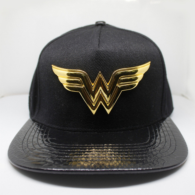 b872dff4afb77 Justice League Wonder Woman Baseball Cap New Fashion Men and Women Adlut  Hats Hip Hop Caps Black Gold Casual Snapback Hat
