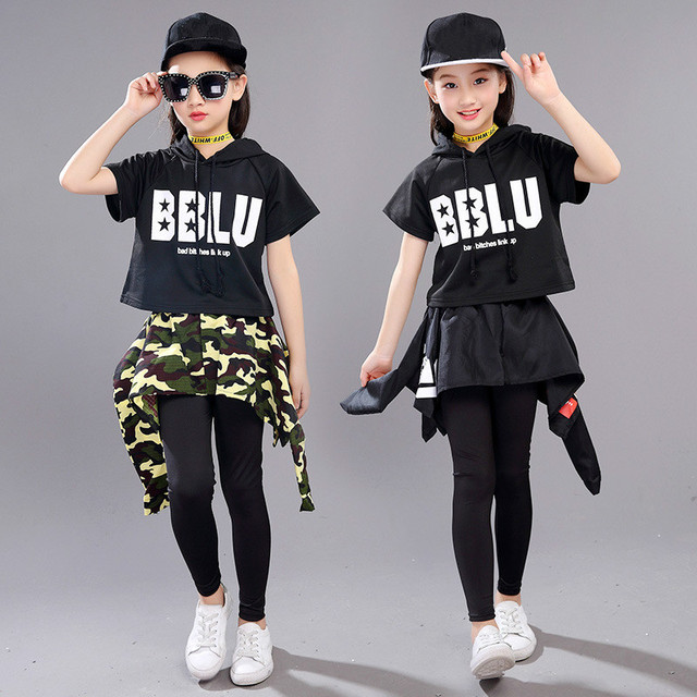 fcbe03fe4 New Style Fashion Kids Ballroom Modern Jazz Hip Hop Dance Competition  Costume Set for Girls Street ...