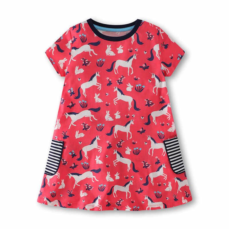 Yeni varış bebek pamuk kız elbise cepler ile çocuk yaz giysileri aplike nakış prenses dropshipping frocks elbise