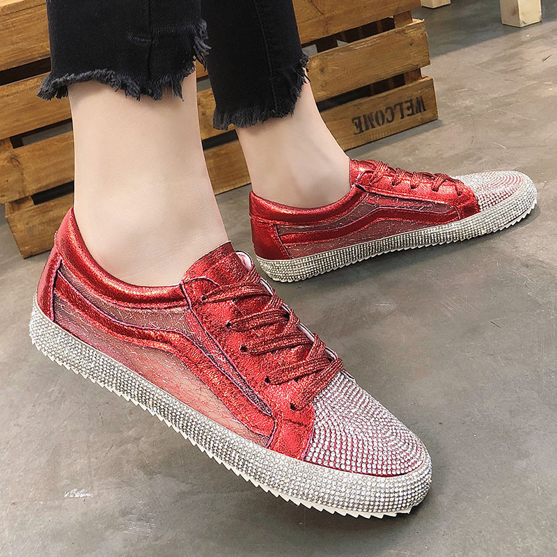 New 2018 Fashion Red Silver Lady Glitter Casual Shoes Women Sneaker ... e4af0f9d7126