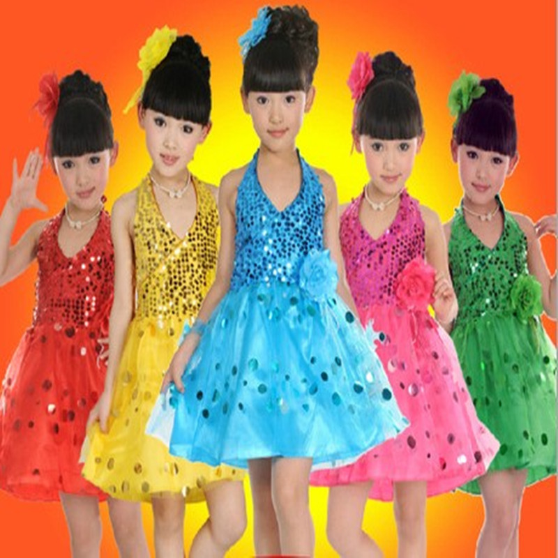 Фото Childrens Performance Stage Latin Salsa Ballroom Dance Sequins Tutu Dress Girls Kids Dancewear Costumes Dress S0789