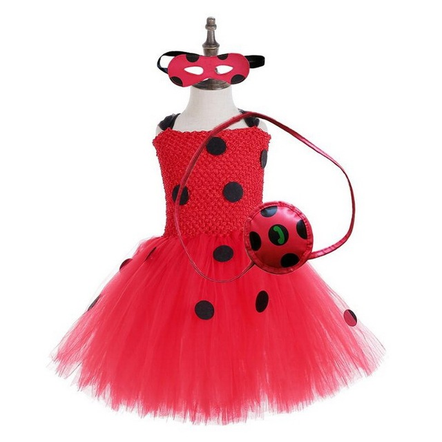 Girls Ladybug Costume Baby Girl Birthday Party Tutu Dress Kids Halloween Lady bug Costume Outfit Ladybird Girls Fancy Dress