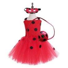 หญิง Ladybug เครื่องแต่งกายเด็กสาววันเกิดพรรค Tutu ชุดเด็กฮาโลวีน Lady bug เครื่องแต่งกาย Ladybird ชุดแฟนซีชุด