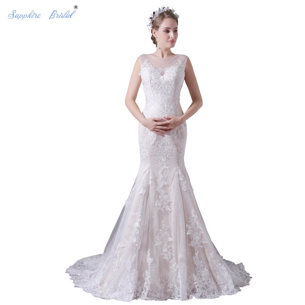 Sapphire Bridal Elegant Sheath Wedding Dress White Ivory
