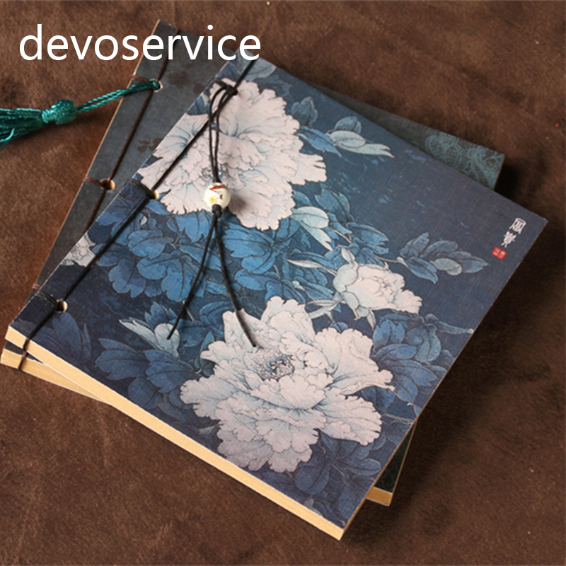 195x135mm Chinese Vintage Peony Note Book Chinese Ancient Style Diary Notebook Manual Sketchbook Handmake chunfeng handmake dimaond cubezd002150