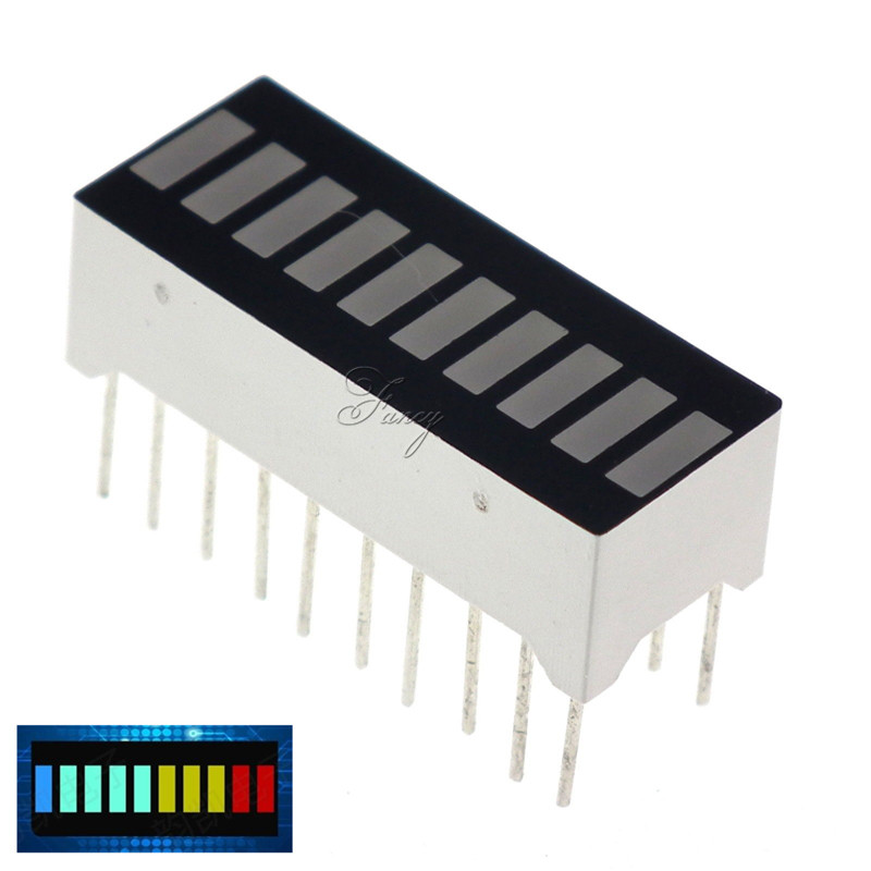 5Pcs 10 Segment LED Bargraph Light Display Module Bar Graph Ultra Bright Red Yellow Green Blue Colors Multi-color DIY Wholesale