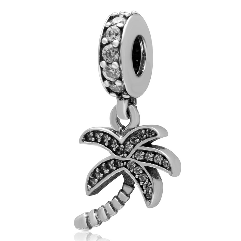 Authentic 925 sterling silver coconut palm charm Pendant with white CZ stone DIY Beads fit for pandora charms bracelets