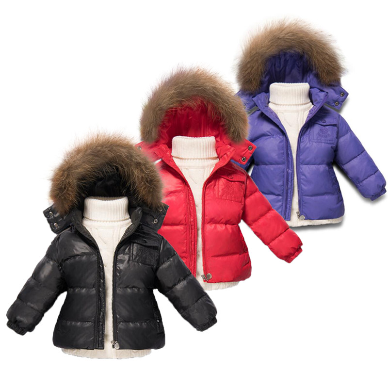 2017 Winter Girls Boys Parka with nature  Fur thicken Winter warm Jacket For Girls snow wear Children clothing kids coats цена и фото