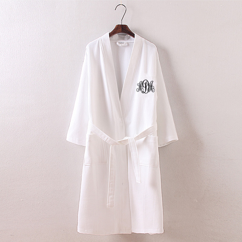 Us 32 99 Personalized Monogrammed Waffle Spa Wrap Monogram Personalized Robes Waffle Weave Kimono Robes Spa Wraps Dress Bridesmaid Gifts In Robes