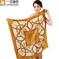 2016 мода марка дизайнер шелковый платок шарф для женщин атласная косынка 90*90 см изысканные геометрические печати бандана