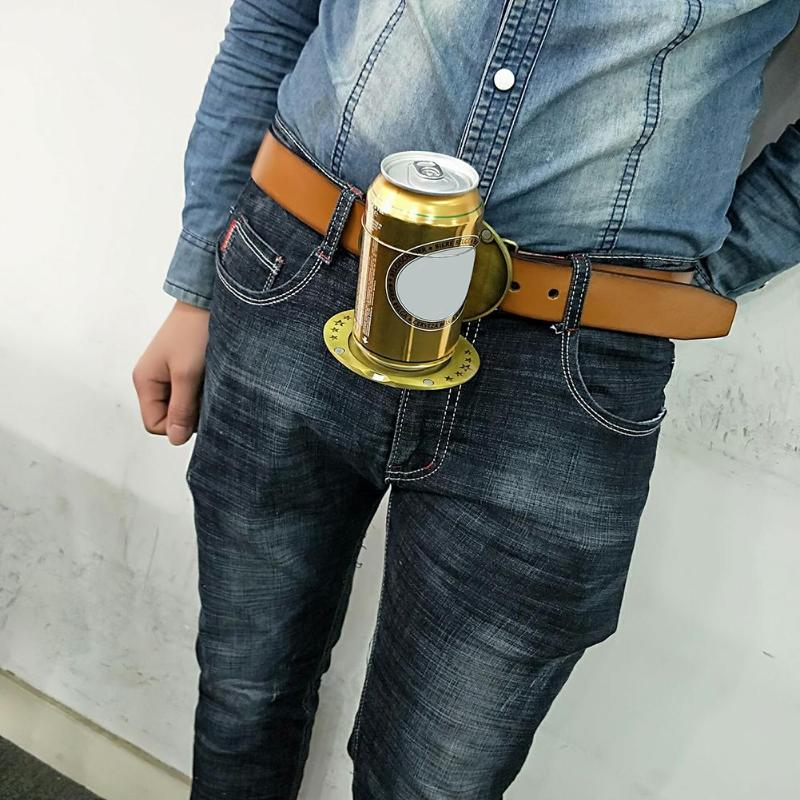 Outdoor Metal Beer Head Belt Funny Bottle Buckle for Camping Wine Can Holder