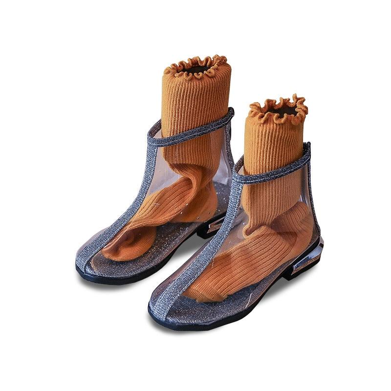 1a1b675a63f04 Nouvelle princesse filles mode chaussures Transparent Martin bottes enfants  petite fille bottes de pluie