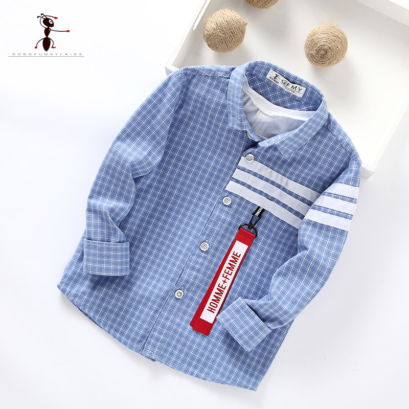 Kung Fu Ant Plaid Long Sleeve Autumn New Arrival Turn-down Collar Blusas School Blouse Boy Shirt Long Sleeve Cotton 7105 sweet stand collar long sleeve waist tied flare blouse for women