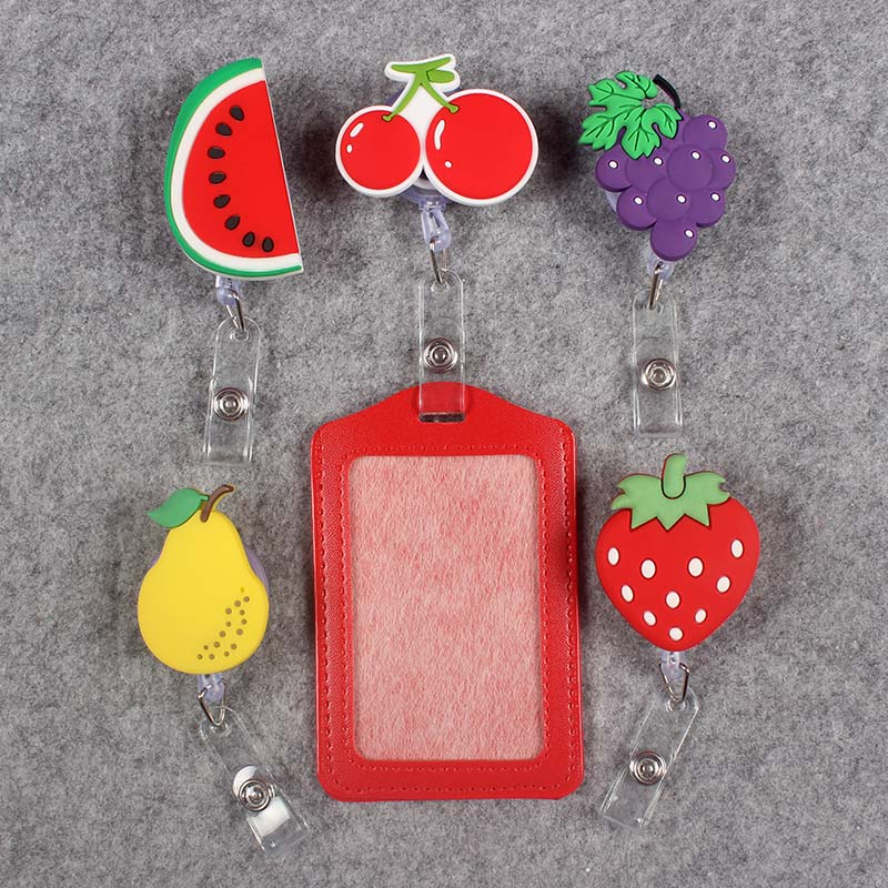 Creative Vegetable And Fruits Badge Scroll  Office Reel Scalable Girls Nurse Entrance School Students Guard Card PU Card Holder